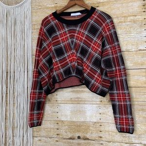 BCBGeneration Plaid Crop Top Sweater